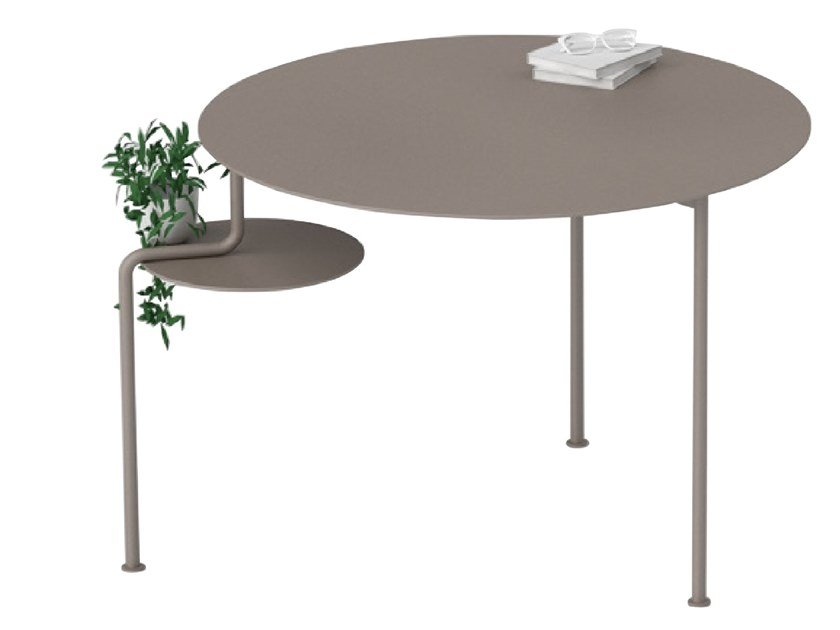 Round stainless steel and wood table WATERFALL | Table by ZENS Lifestyle