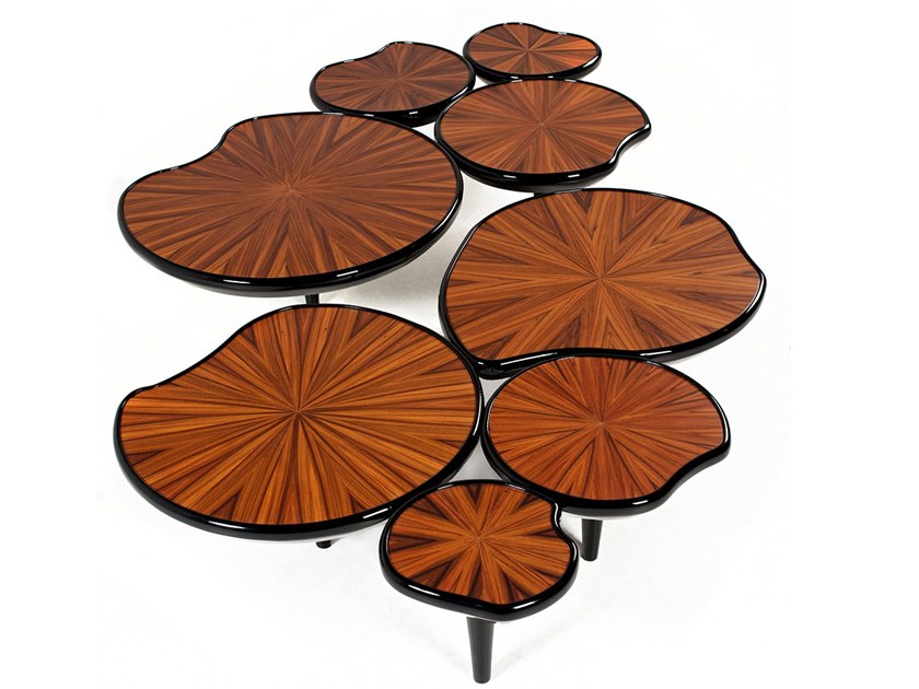 Low wood veneer coffee table WATERLILY | Coffee table by Malabar