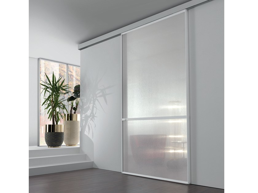 Fabric glass sliding door WAVE | Sliding door by Longhi