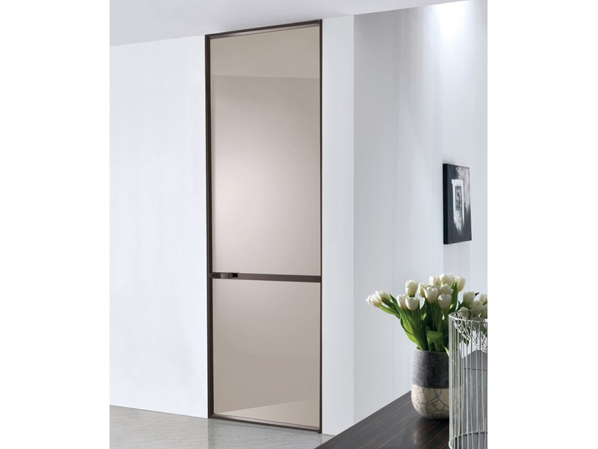 Hinged lacquered glass door WAVE | Lacquered glass door by Longhi