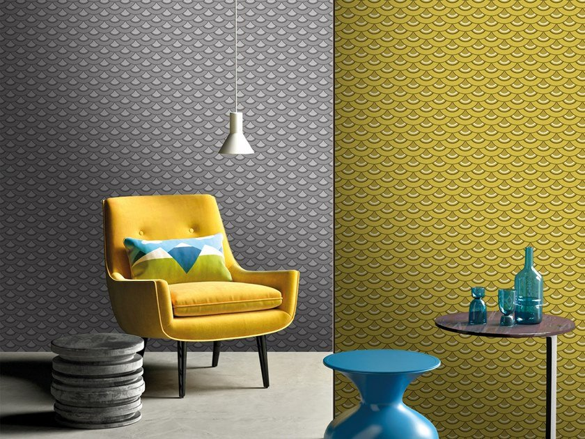 Motif vinyl wallpaper WAVES by Baboon