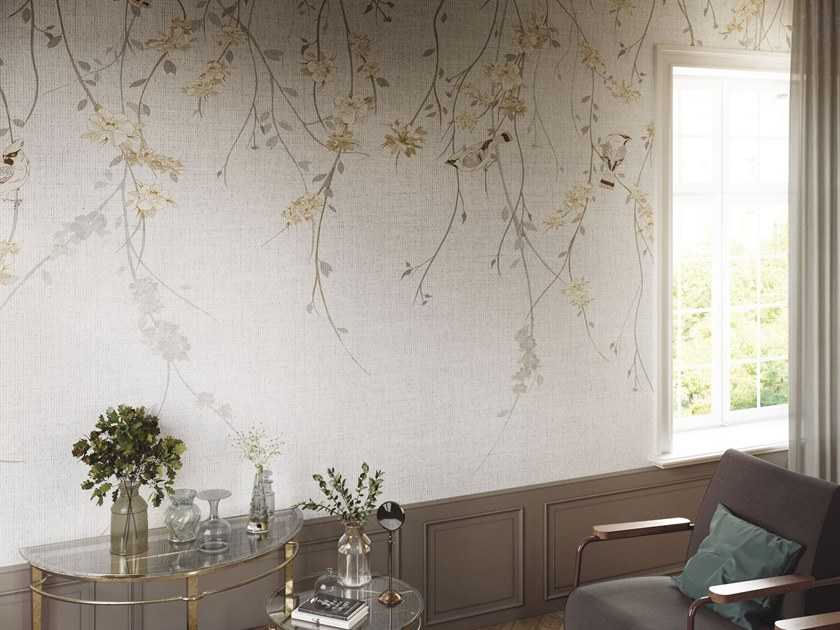 Nonwoven wallpaper with floral pattern WAXWING by Tecnografica