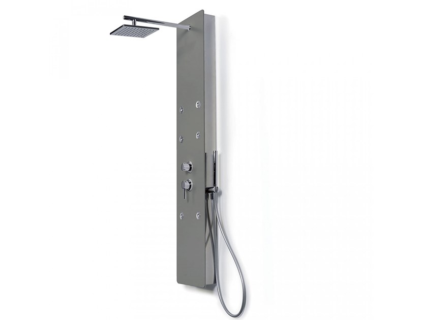 Wall-mounted shower panel with vertical jets WAY FACE by Blu Bleu