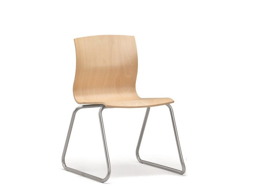 Sled base stackable multi-layer wood chair WEBWOOD 350 by TALIN