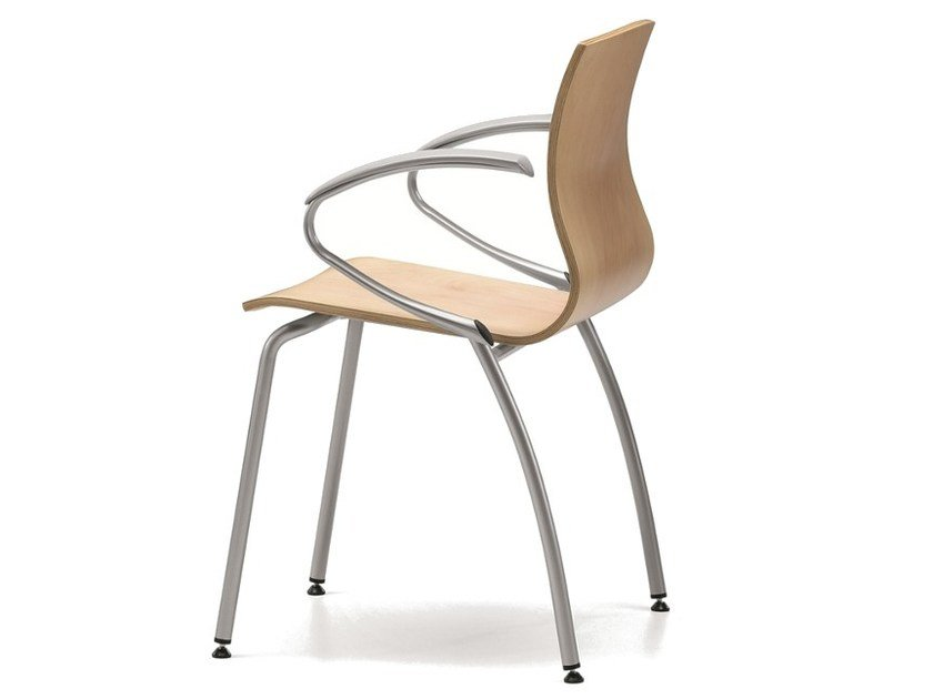 Multi-layer wood chair with armrests WEBWOOD 359 by TALIN