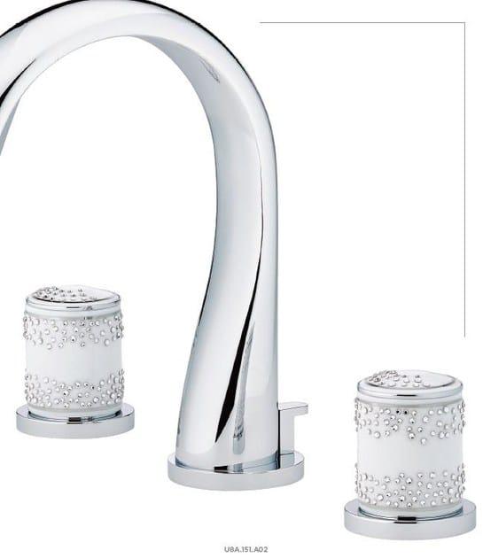 Miscelatore per lavabo a 3 fori color argento in acciaio inox in stile moderno con finitura lucida WEDDING   Miscelatore per lavabo by INTERCONTACT