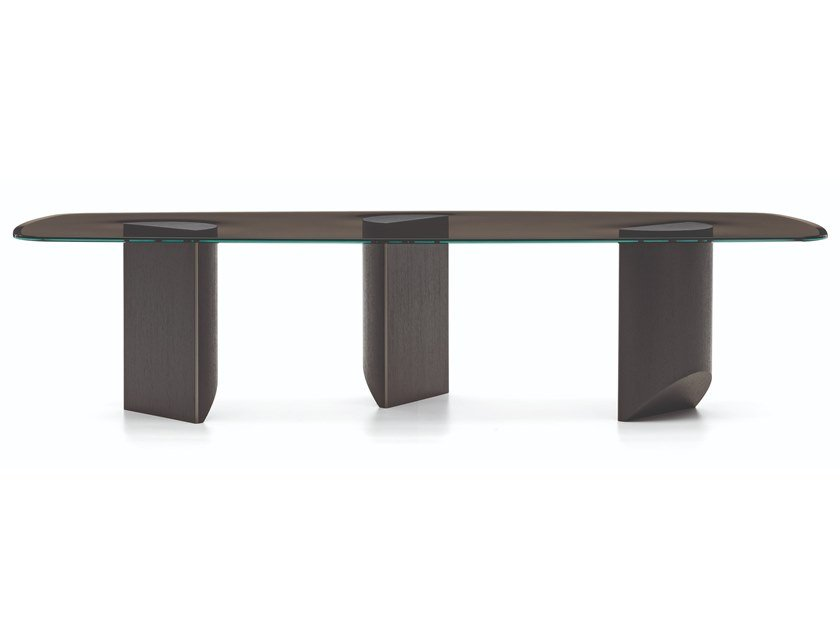 Tavolo rettangolare in vetro WEDGE | Tavolo rettangolare by Minotti