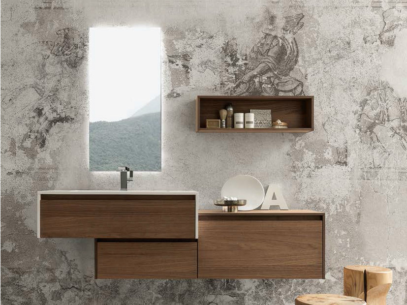 Single wall-mounted vanity unit with drawers WELLNESS 03 by Pedini