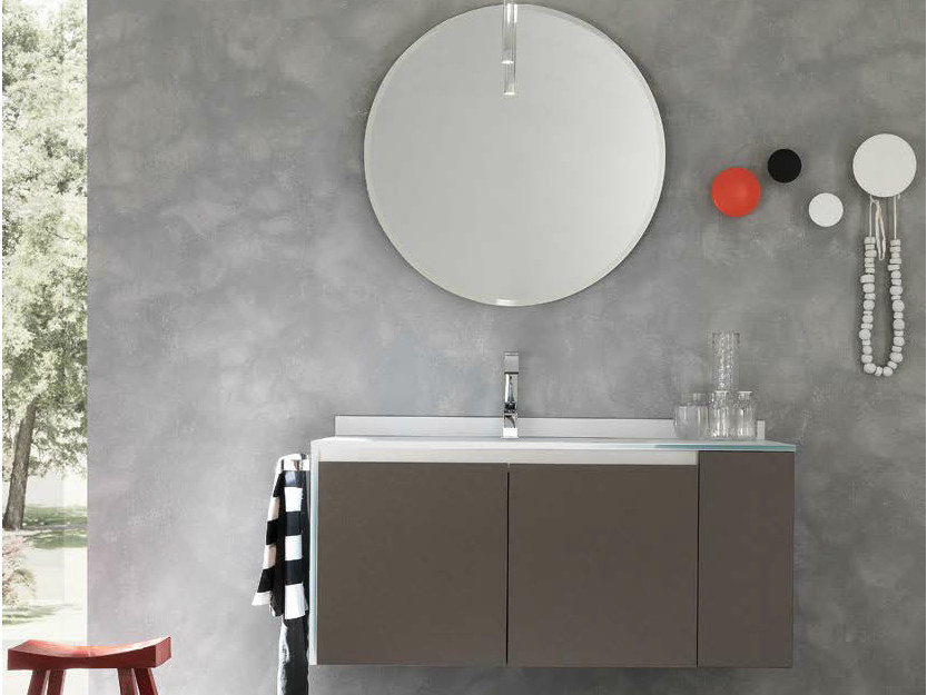 Single wall-mounted vanity unit with doors WELLNESS 05 by Pedini