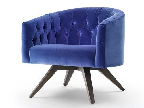 Tufted velvet armchair with armrests WENDY by Marelli
