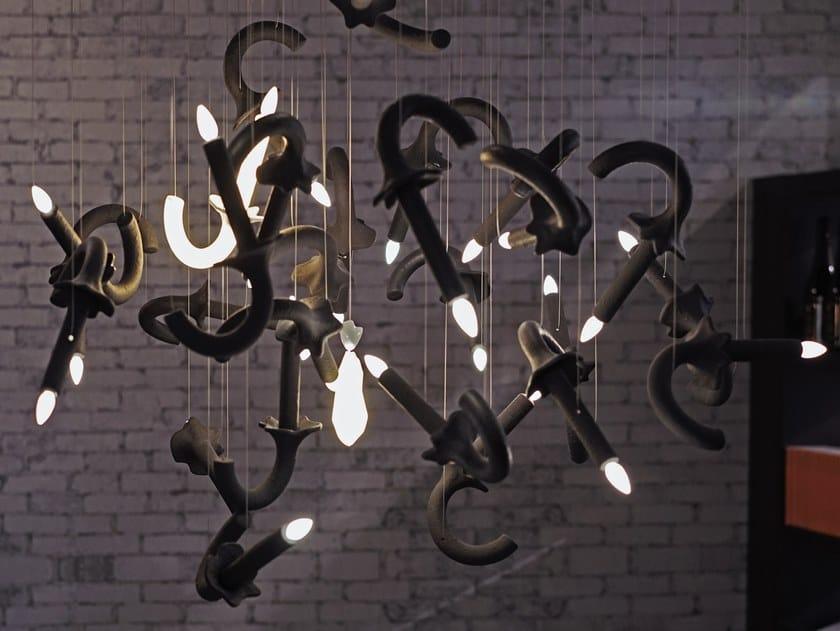 Lampada a sospensione a LED fatta a mano con dimmer WERSAILLES CARBONE by Beau & Bien