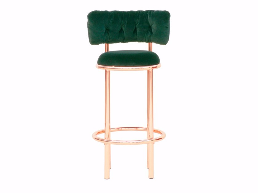 High brass stool with back WEST EGG by Moanne