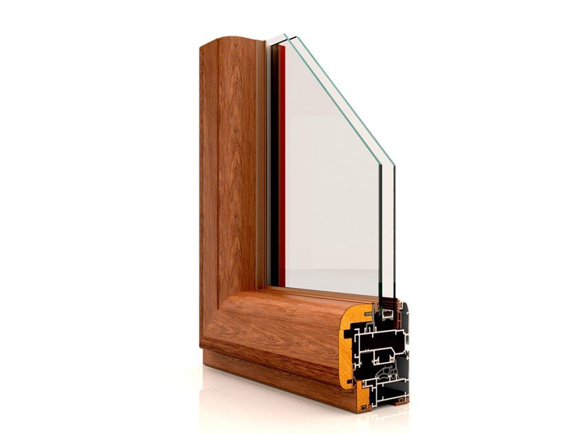 Aluminium and wood casement window WF 710 by Twin Systems