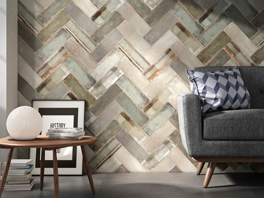 Porcelain stoneware wall tiles with wood effect WHEAT by Iris Ceramica