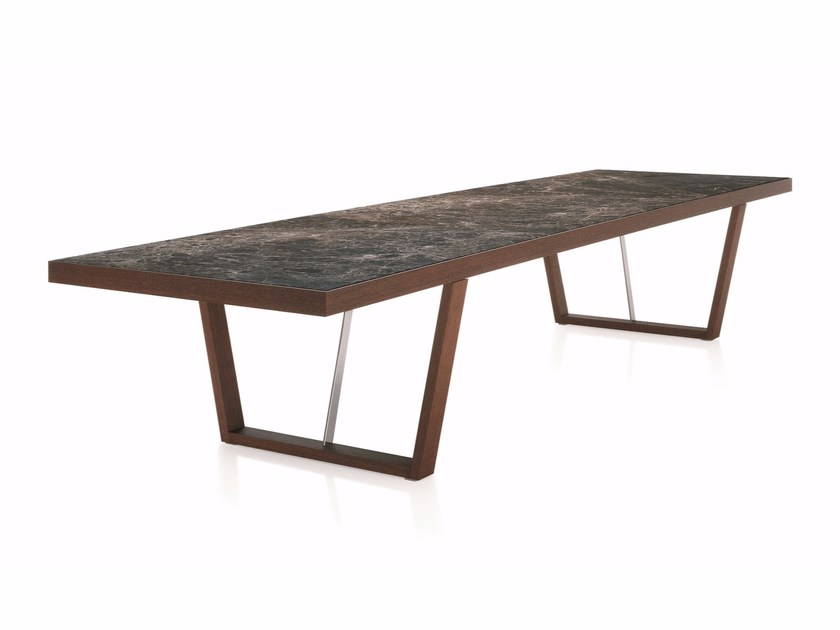 Extending rectangular wooden table WHERE | Rectangular table by Molteni&C