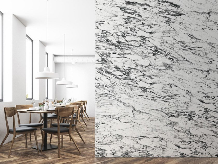 Washable panoramic wallpaper with marble effect WHITE & BLACK ARABESCATO MARBLE | Panoramic wallpaper by Koziel