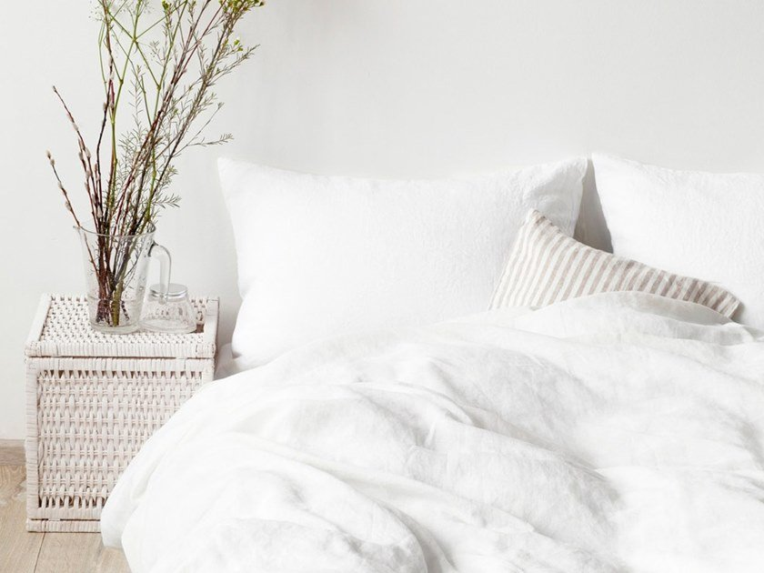 Washed linen Bed Set WHITE | Bedding set by Linen Tales