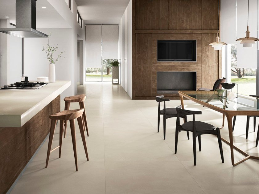 Porcelain Stoneware Wall Floor Tiles With Concrete Effect Resin White By Granitifiandre