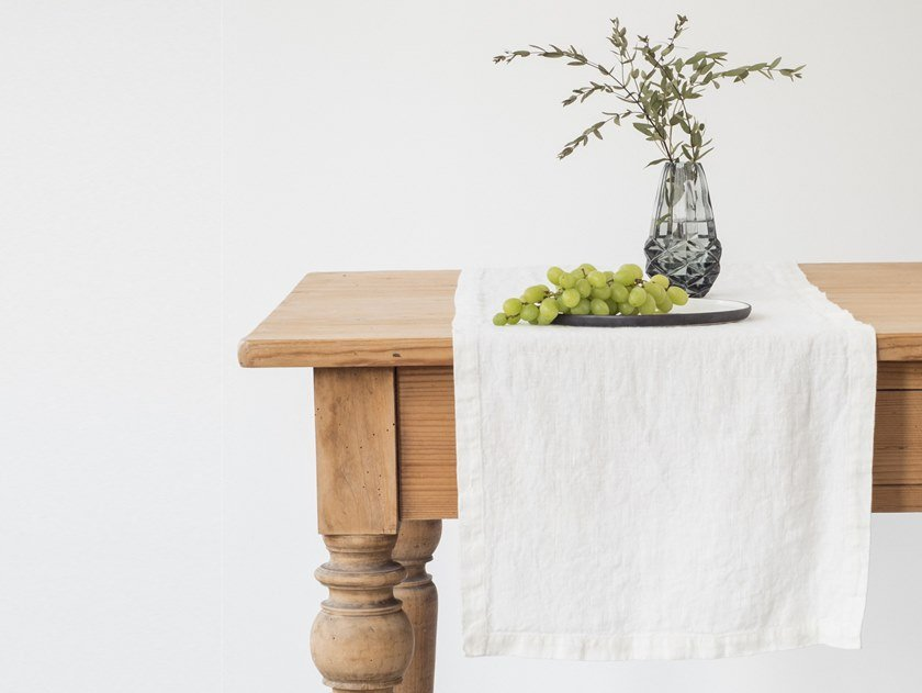 Washed linen table runner WHITE | Table runner by Linen Tales