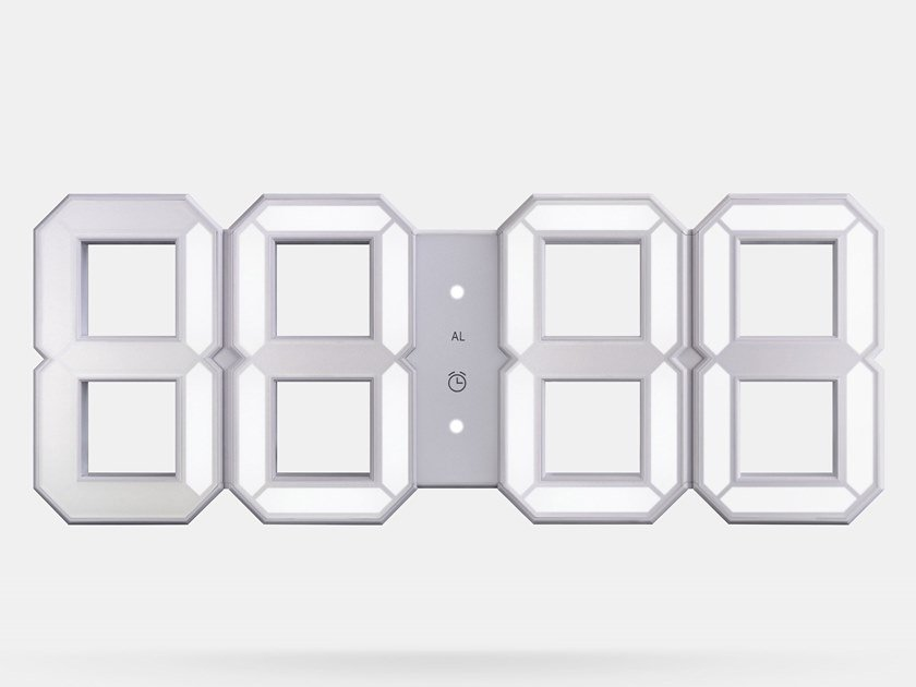 Orologio in ABS WHITE & WHITE LED CLOCK by KIBARDIN
