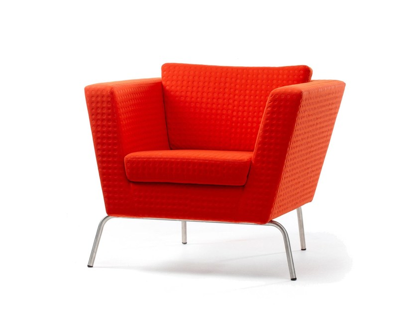 Upholstered fabric armchair with armrests WIDE | Armchair by Stouby
