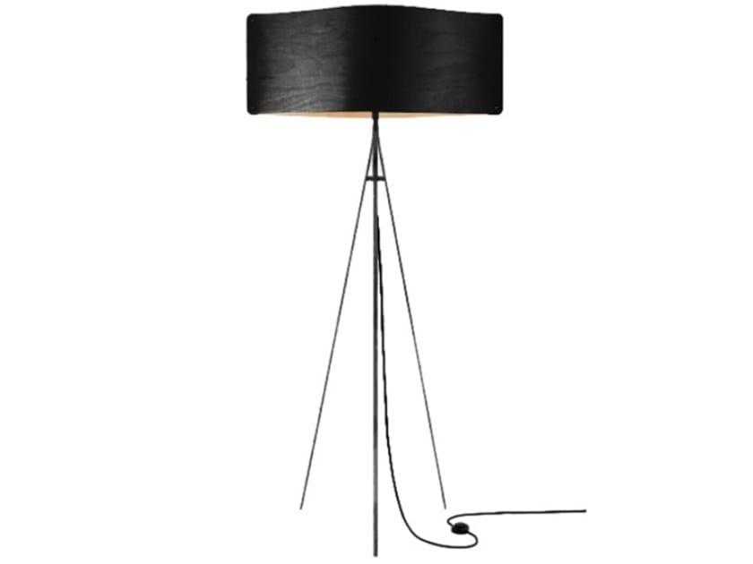 LED multi-layer wood floor lamp WIDE FLOOR LARGE BLACK by Finom Lights