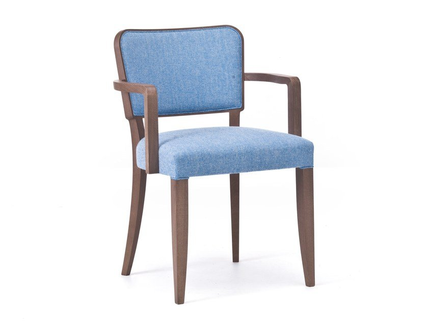 Upholstered fabric chair with armrests WIENER 02 by Very Wood