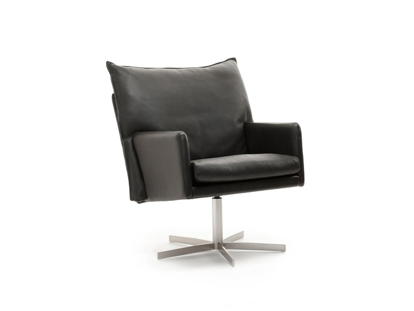 Leather armchair with 5-spoke base WIGWAM | Armchair with 5-spoke base by Stouby