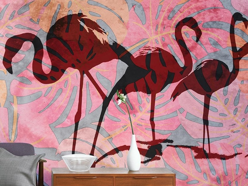 Tropical wallpaper, PVC free, eco, washable WILD FLAMINGOS by Wallpepper