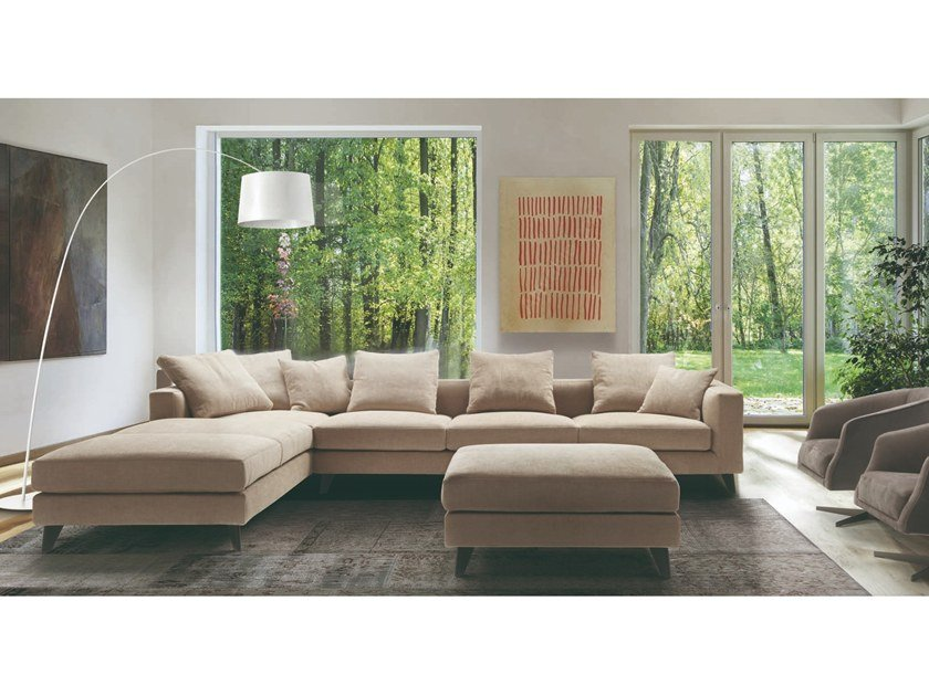 Corner fabric sofa with removable cover WILLIAM | Corner sofa by Marac