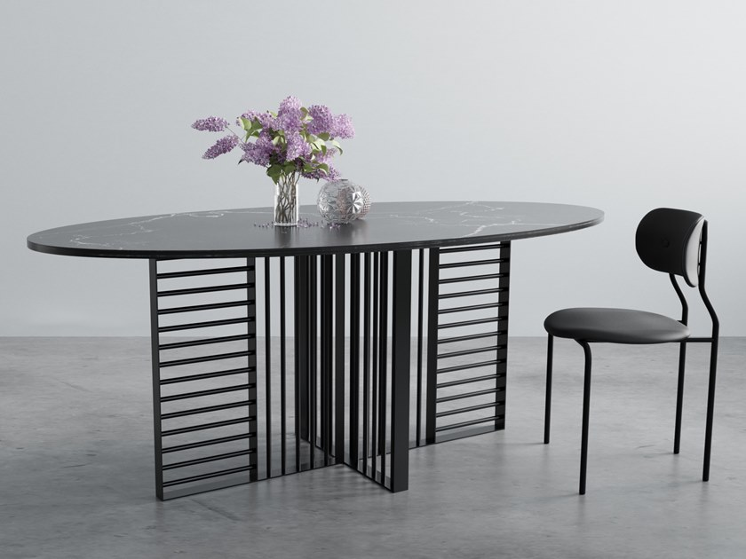 Oval marble table and Powder Coated Steel WILLIAM by Hoom