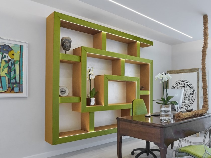 Open fabric shelving unit with built-in lights WILLIAM by IndakoLab