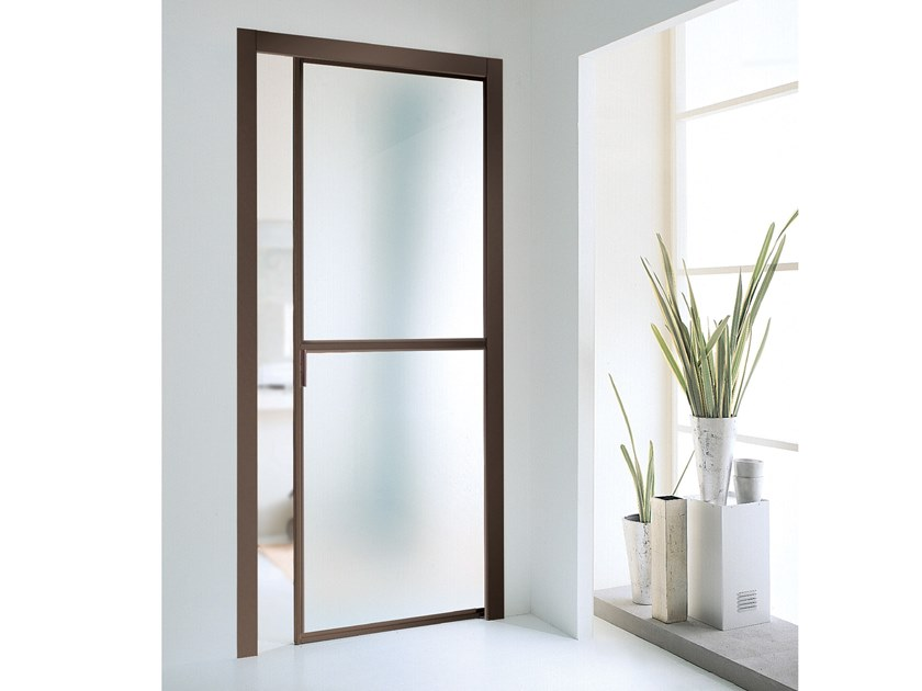 Satin glass pocket sliding door WIND | Pocket sliding door by Longhi