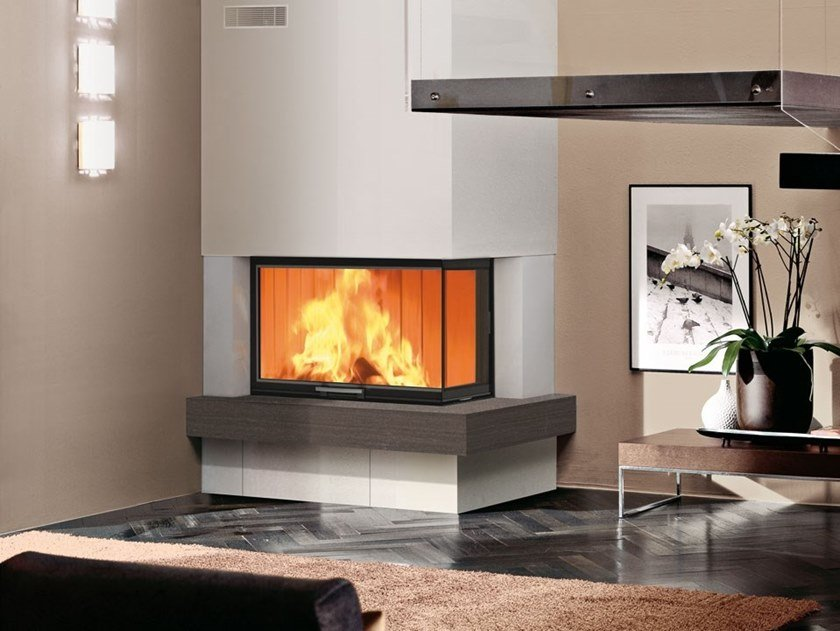 Double-sided wood-burning fireplace WINDO2 75/95 by EDILKAMIN