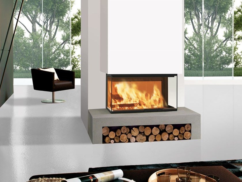 Wood-burning 3-sided fireplace WINDO3 85 by EDILKAMIN