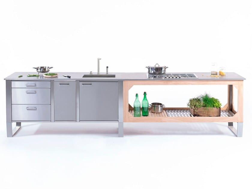 Cucina per interno ed esterno in acciaio e legno WINDOW COMBINATO C1+C3 by Lgtek