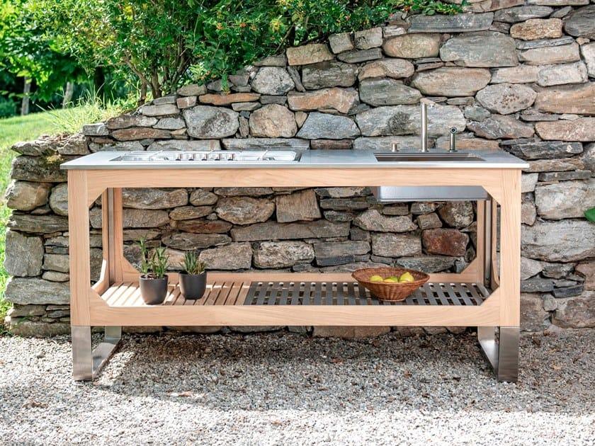 Cucina da esterno in acciaio e legno WINDOW C3 by Lgtek
