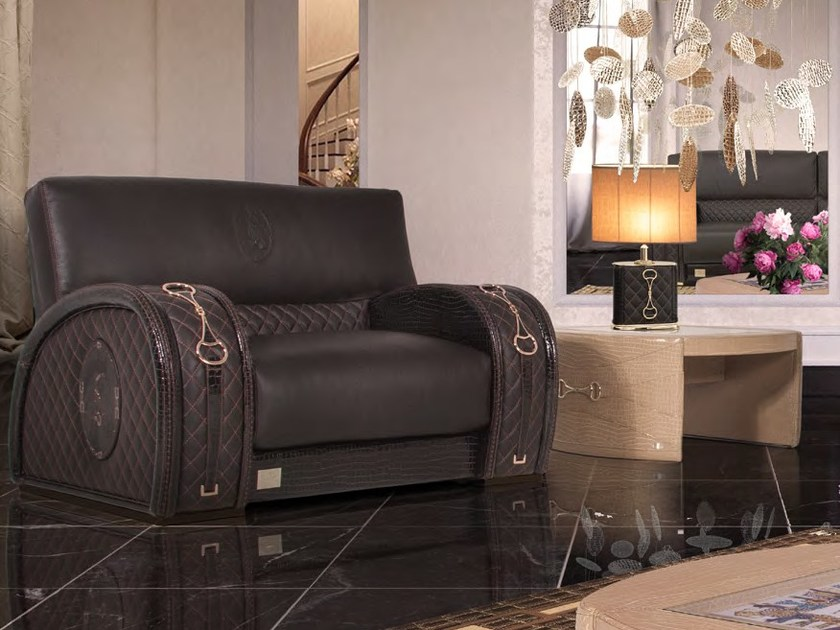 Upholstered leather armchair with armrests WINDSOR S by Formitalia