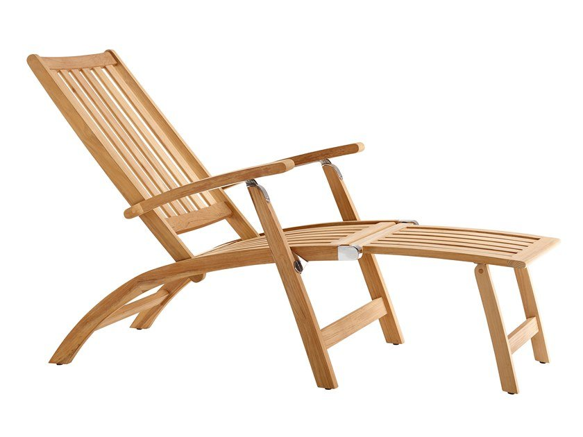Recliner teak deck chair with footrest WINDSOR | Deck chair by solpuri