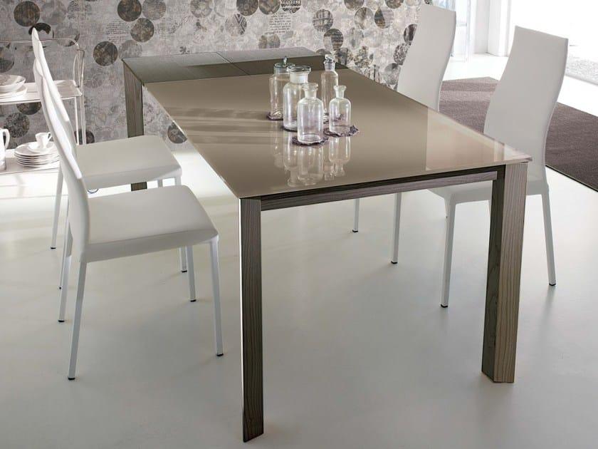 Tavolo allungabile da pranzo wing legno tavolo in cristallo by ozzio italia design marco pozzoli - Tavolo pranzo cristallo ...