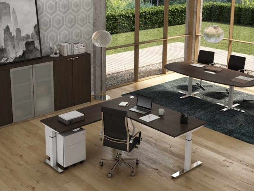 L-shaped melamine-faced chipboard executive desk with cable management WINGLET | L-shaped office desk by Bralco