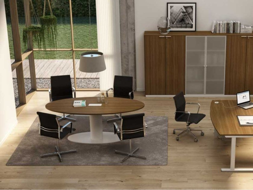 Oval melamine-faced chipboard meeting table with cable management WINGLET   Oval meeting table by Bralco