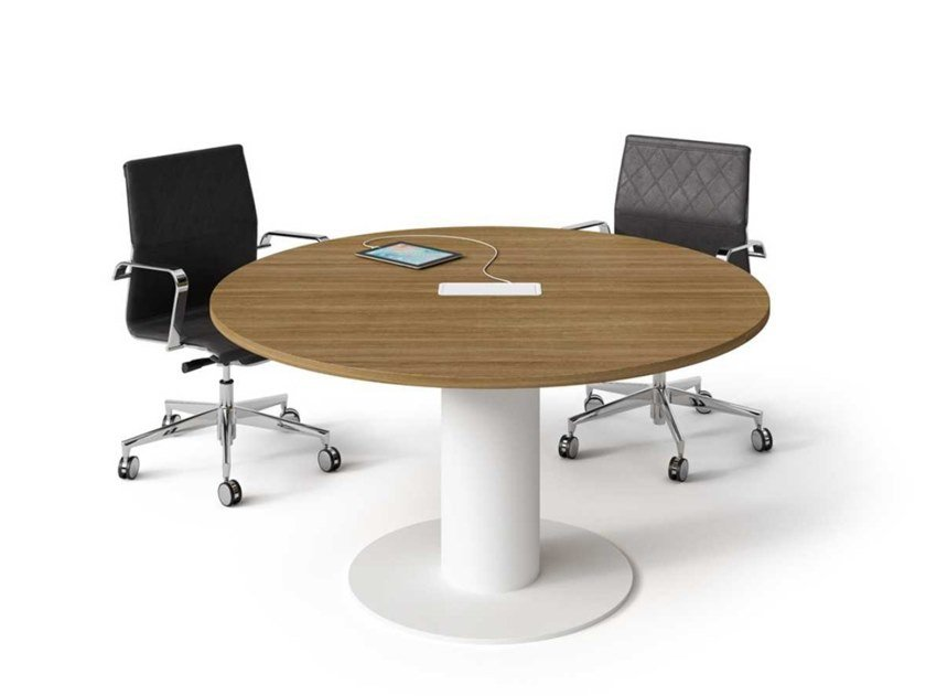 Round melamine-faced chipboard meeting table with cable management WINGLET | Round meeting table by Bralco