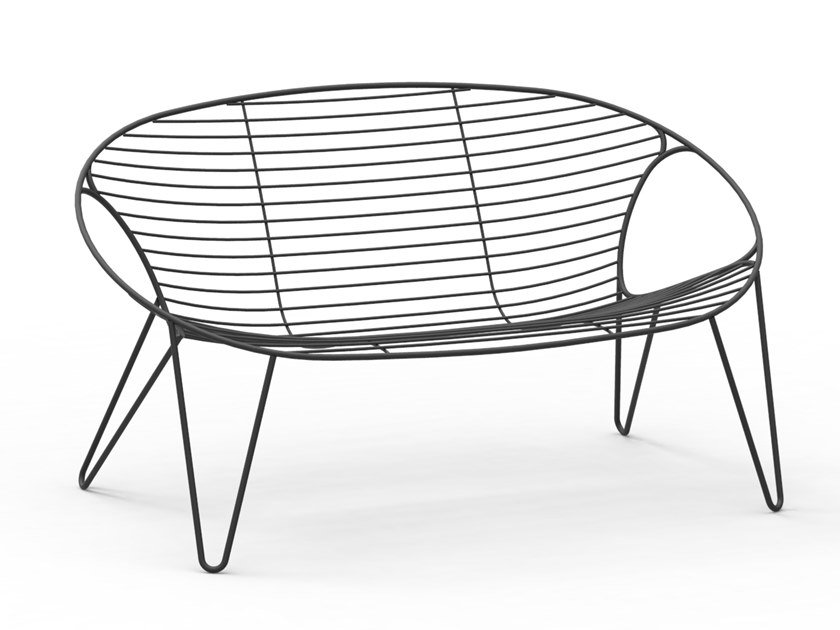 2 Seater Stainless Steel Garden Sofa Wire By Joli