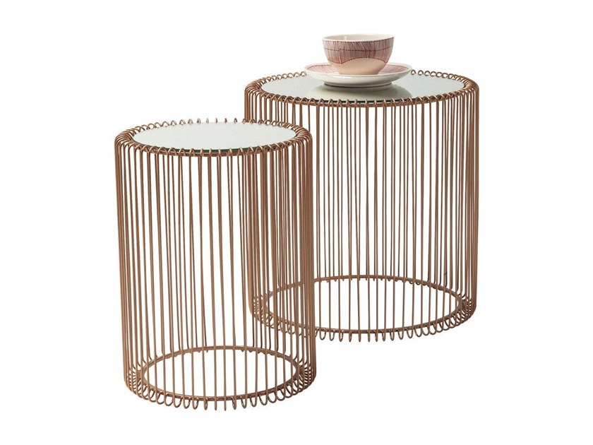 Round glass and steel side table WIRE COPPER by KARE-DESIGN