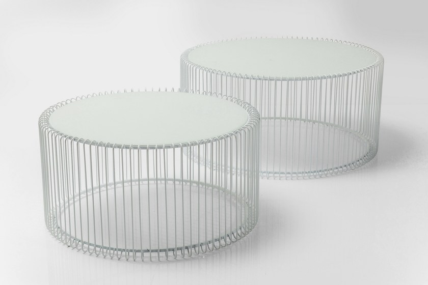 Round Glass And Steel Coffee Table WIRE WHITE By KARE DESIGN