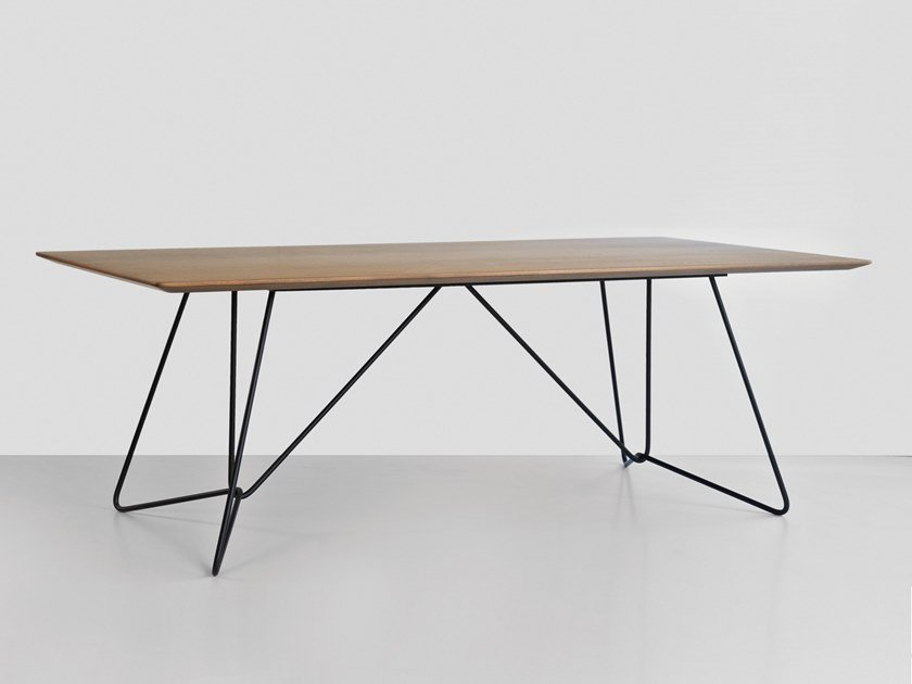 Rectangular wood veneer table WIRED by Hemonides