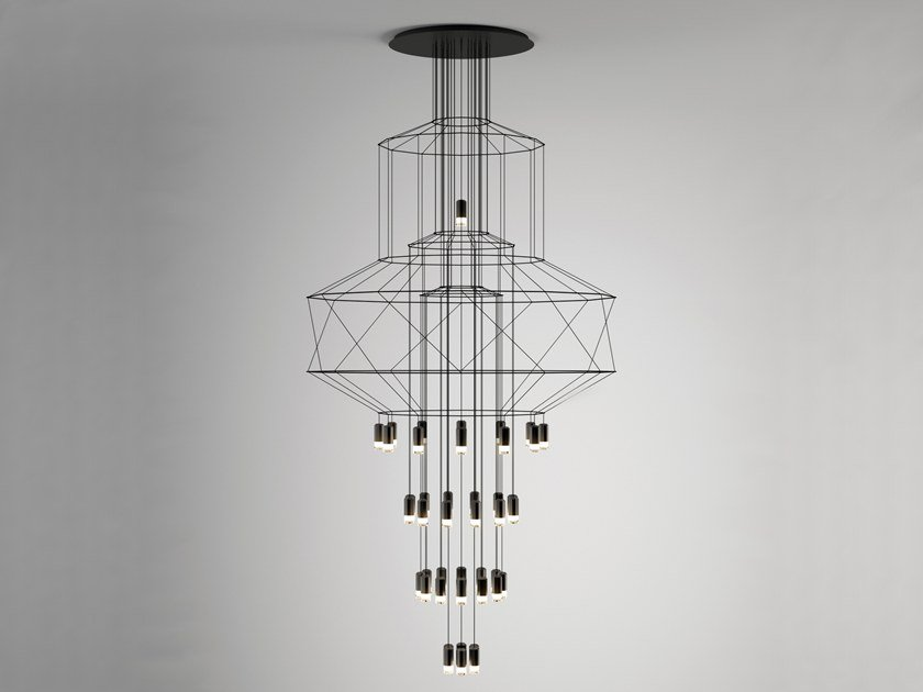 LED pendant lamp with dimmer WIREFLOW CHANDELIER 0374 by Vibia