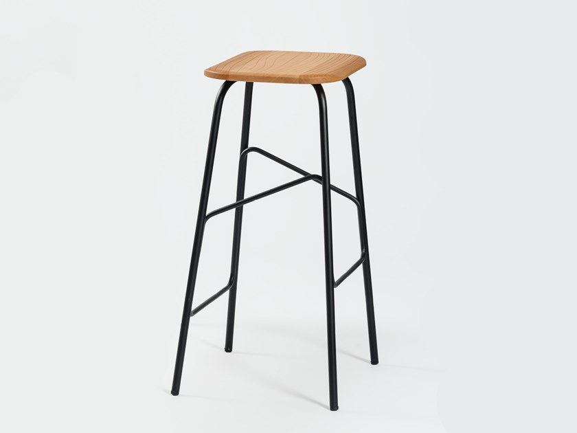 Contemporary style steel barstool with footrest WIREFRAME   Stool by INPPUT