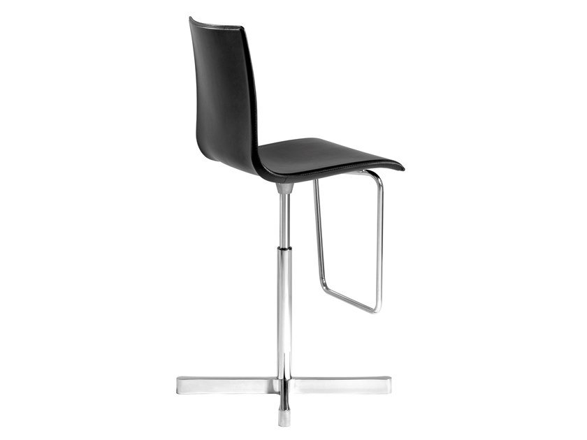 Swivel stool with 4-spoke base with back WOK   Leather stool by Desalto